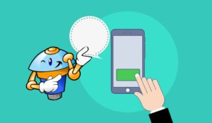 ChatBot-Virtual Assistant-Smiling-Pointing At Comment Bubble-And Cell Phone